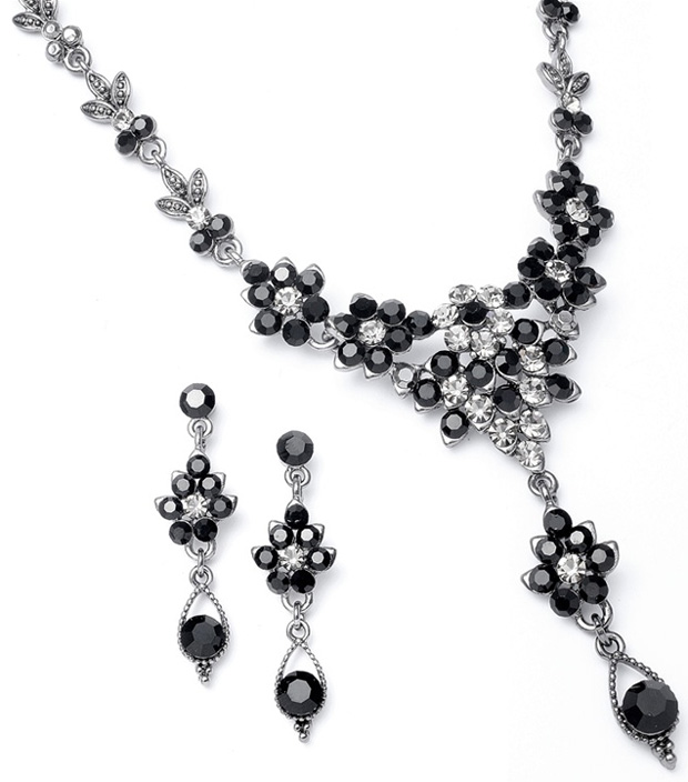 Mariell Jet Crystal Cluster Necklace Set with Drop