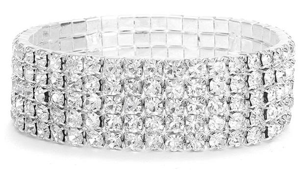 Mariell 5-Row Stretch Rhinestone Bracelet