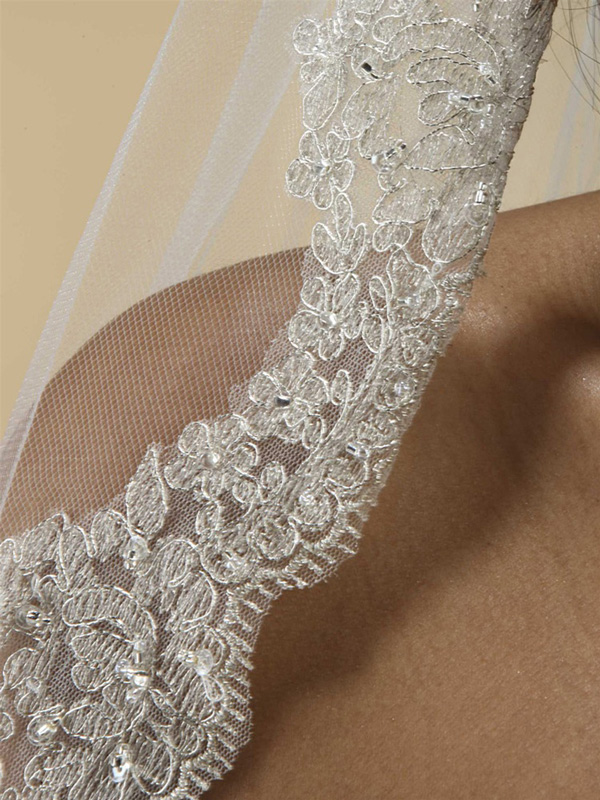 Mantilla Lace Wedding Veil Threaded with Silver Chain