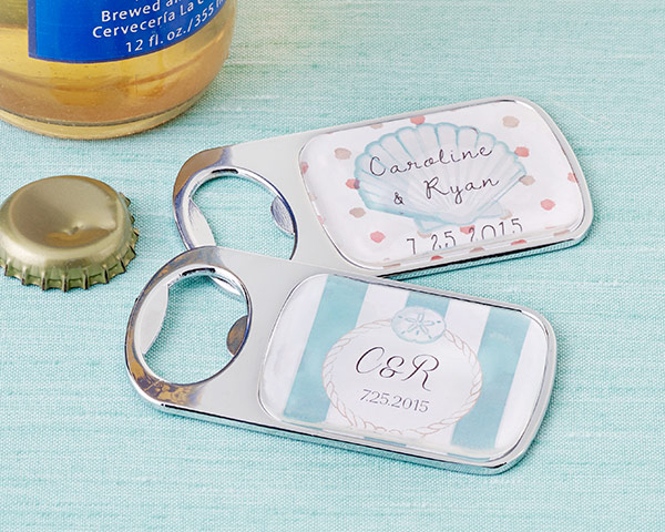 Personalized Silver Bottle Opener with Epoxy Dome: Beach Tides