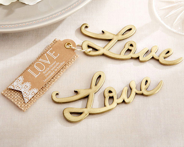 Love Antique Gold Bottle Opener
