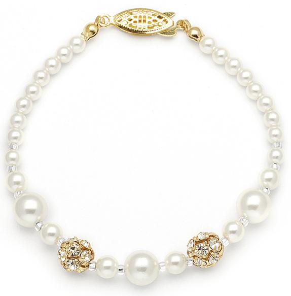 Best Selling Bridal Bracelet with Pearls & Rhinestone Fireballs