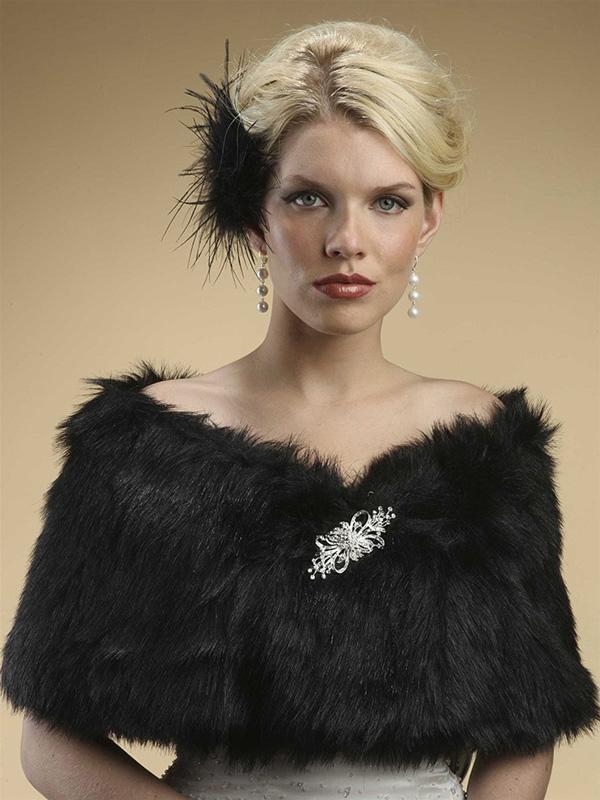 Mariell Faux Fur Shawl with Jet Black Fox