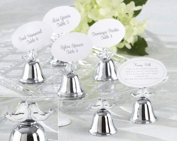 Lovebirds, Silver-Finish Kissing Bell Place Card Holder: Set of 24
