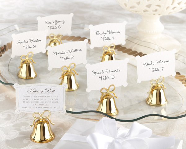 Gold Kissing Bells Place Card, Photo Holder: Set of 24