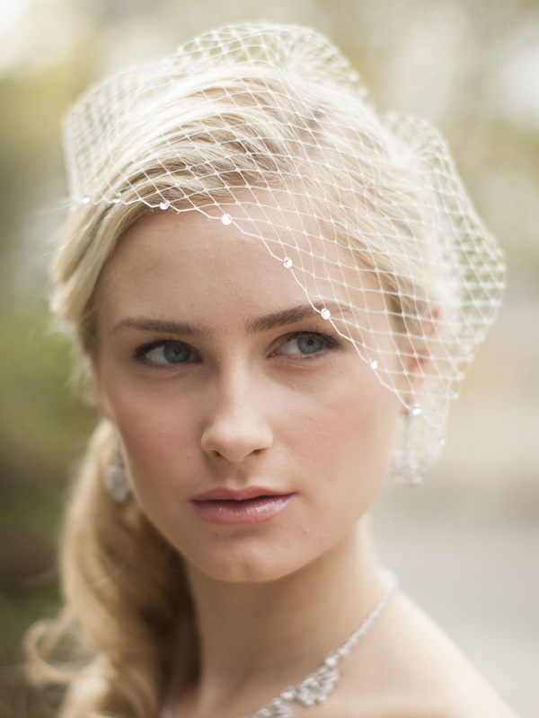 Mariell French Net Bridal Birdcage Visor Veil with Swarovski Crystals