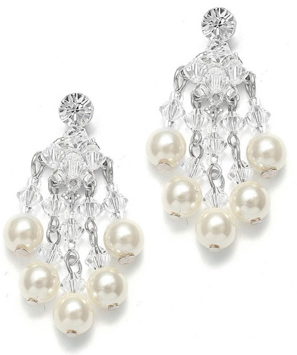 Mariell Swarovski Crystal & Pearl Bridal Chandelier Earrings
