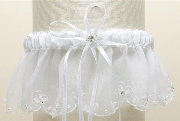 Mariell Organza Bridal Garters with Pearls and Chain Edging: White