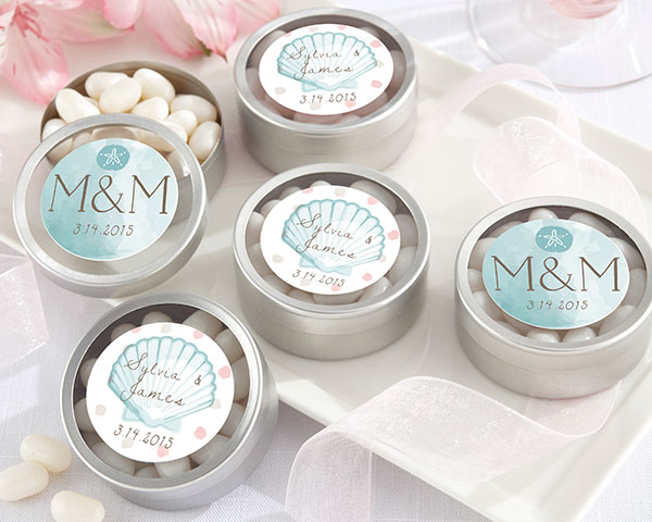Personalized Silver Round Candy Tin, Beach Tides: Set of 12