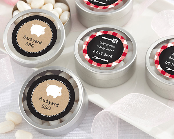 Personalized Silver Round Candy Tin, BBQ: Set of 12