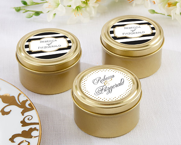 Personalized Gold Round Candy Tins, Classic: Set of 12