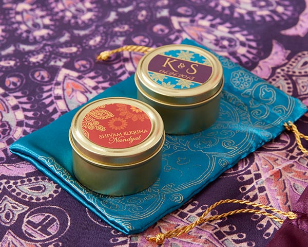 Personalized Gold Round Candy Tins, Indian Jewel: Set of 12