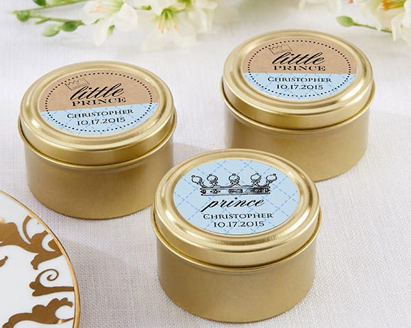 Personalized Gold Round Candy Tin, Little Prince: Set of 12