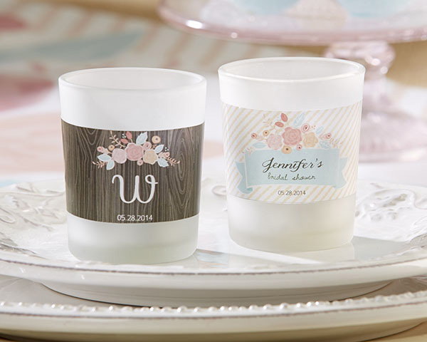 Personalized Frosted-Glass Votive, Kate's Rustic Bridal Shower Collection