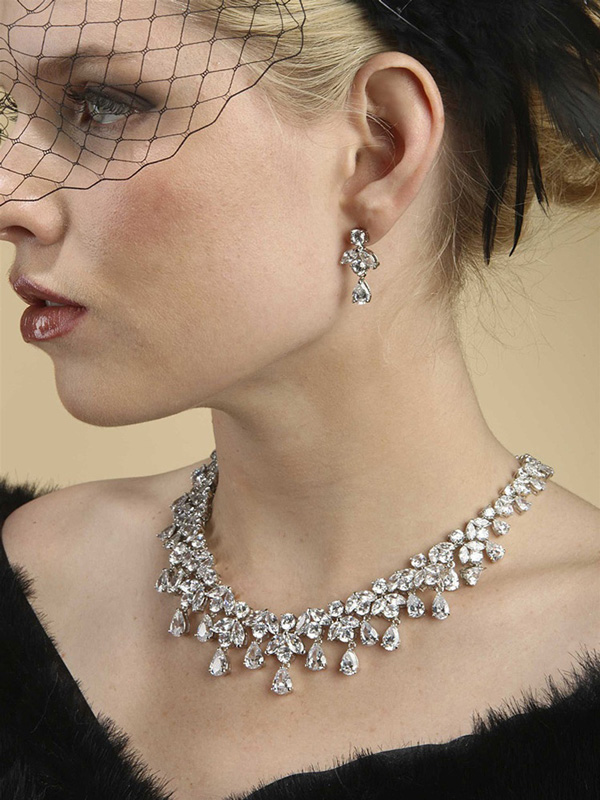 Mariell Spectacular Hollywood Cubic Zirconia Statement Bridal Neck Set