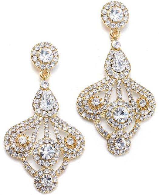 Mariell Art Deco Fan Rhinestone Earrings