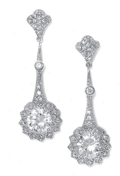 Mariell Cubic Zirconia Vintage Bridal Earrings with Round Solitaire