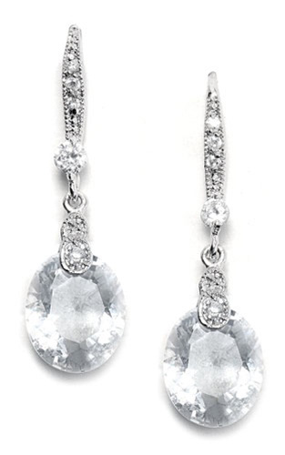 Mariell Vintage CZ Wedding Earrings with Faceted Crystal Drops