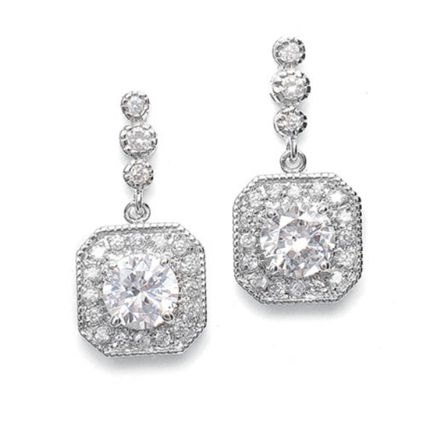 CZ Art Deco Tailored Wedding Earrings