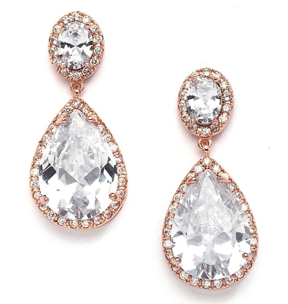 Best-Selling Cubic Zirconia Rose Gold Pear-Shaped Bridal Earrings
