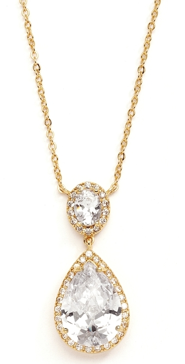 Couture Cubic Zirconia Pear-Shaped Bridal Necklace