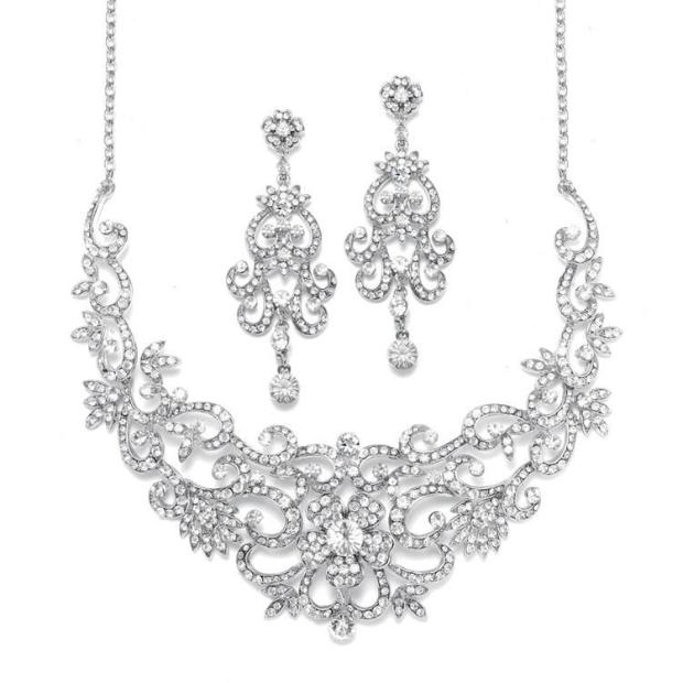 Mariell Magnificent Crystals Scroll Bridal Necklace Set