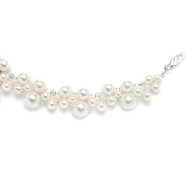 Mariell Crystal & Pearl Bubbles Bridal Bracelet