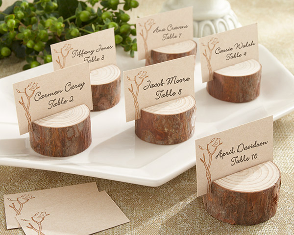 Rustic Real-Wood Place Card/Photo Holder: Set of 4