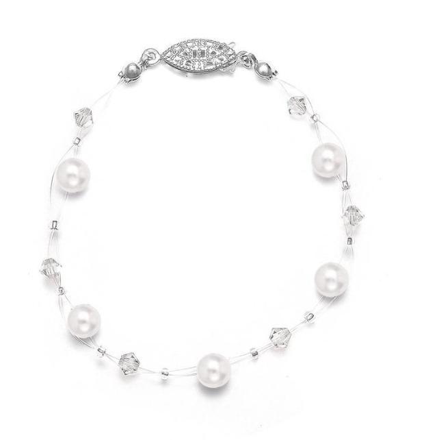 Mariell Pearl & Crystal Bridal or Bridesmaids Illusion Bracelet