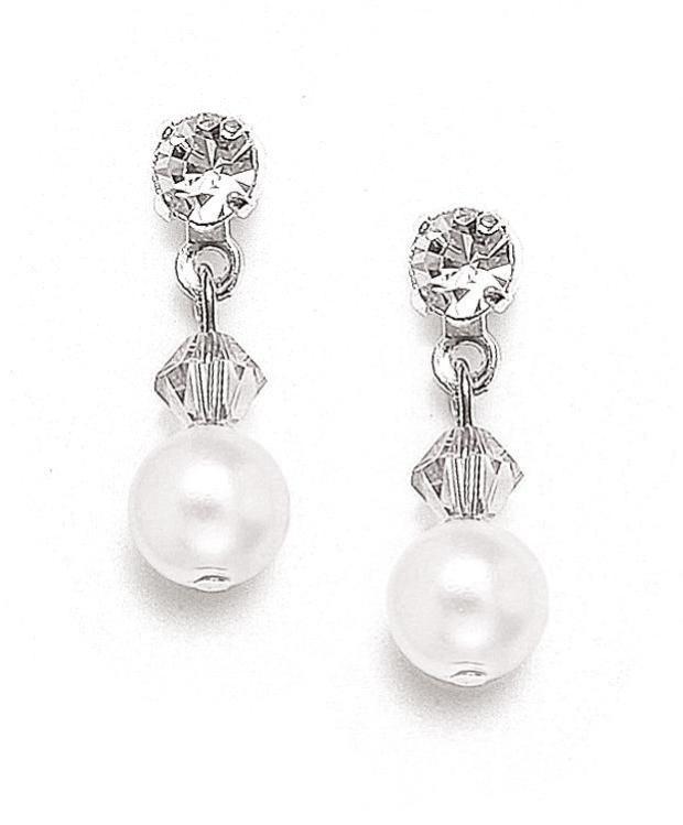Mariell Classic Pearl & Crystal Drop Bridal or Bridesmaids Earrings