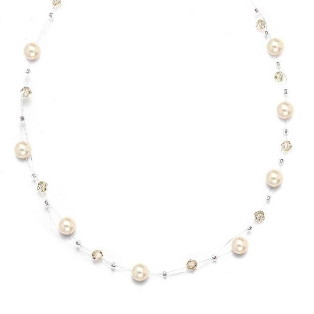 Mariell Pearl & Crystal Bridal or Bridesmaids Illusion Necklace - Honey