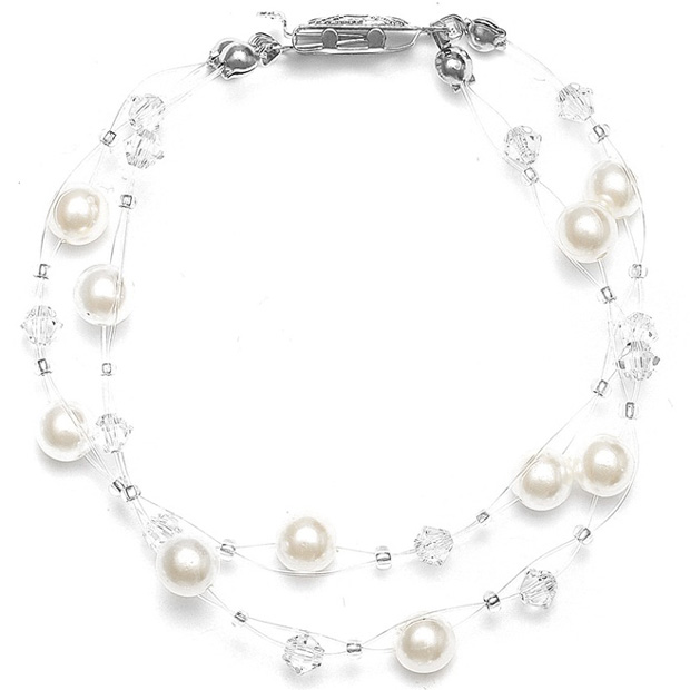 Mariell 2-Row Pearl & Crystal Bridal Illusion Bracelet