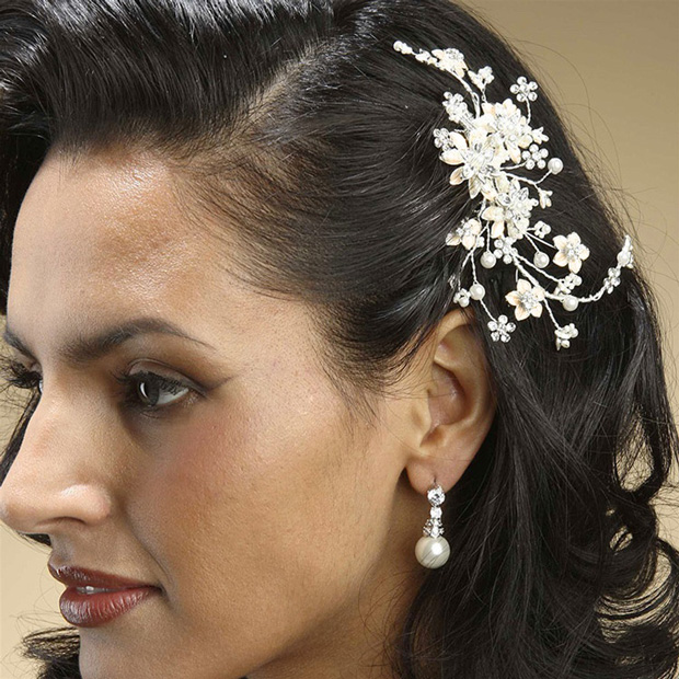 Mariell Pearl and Crystal Bridal Comb with Soft Rum