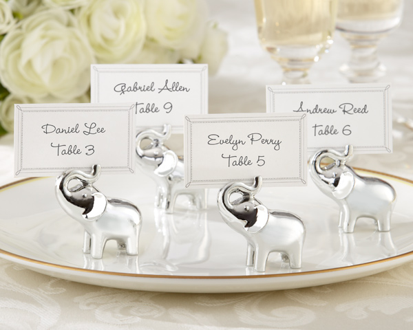 Lucky in Love, Silver-Finish Lucky Elephant Place Card, Photo Holder: Set of 4