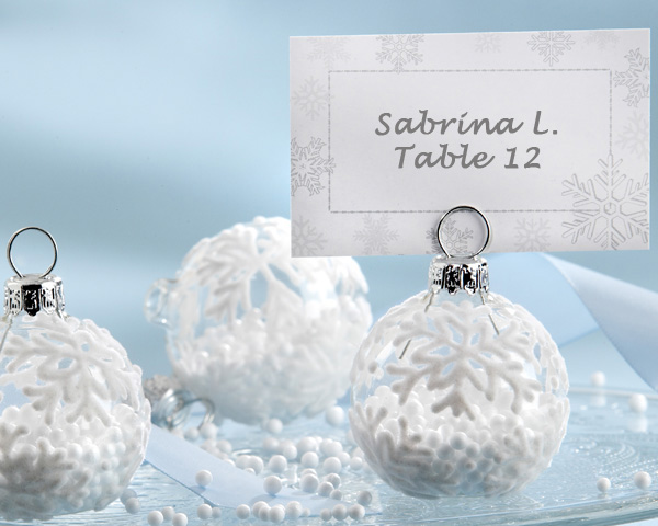 Snow Flurry, Flocked Glass Ornament Place Card, Photo Holder: Set of 6