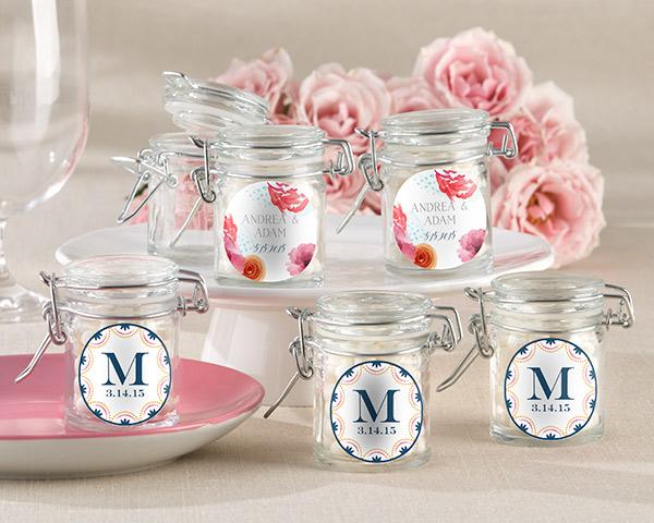Personalized Glass Favor Jars, Botanical: Set of 12