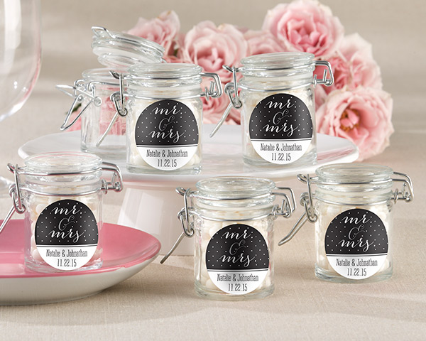 Personalized Glass Favor Jars, Mr. & Mrs.: Set of 12