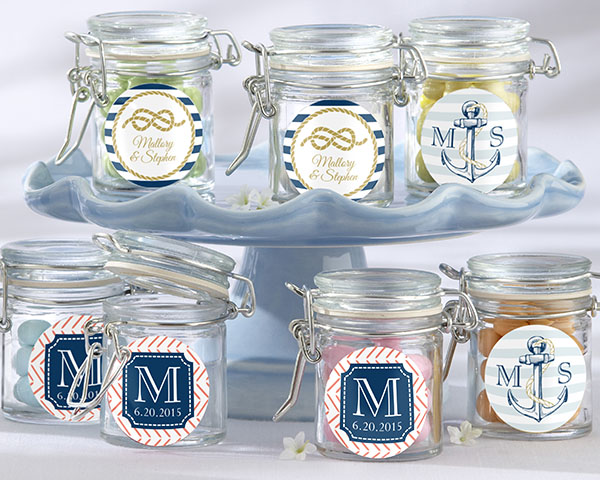 Personalized Glass Favor Jars, Kate's Nautical Wedding Collection: Set of 12