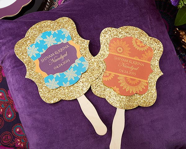 Personalized Gold Glitter Hand Fan, Indian Jewel: Set of 12