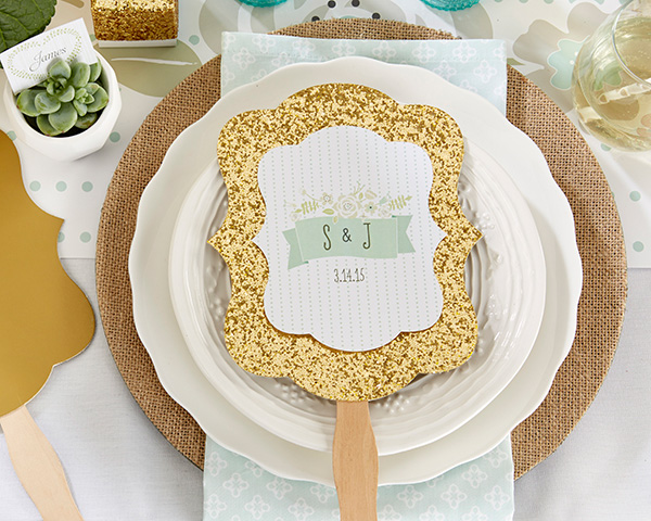 Personalized Gold Glitter Hand Fan: Kate's Rustic Wedding Collection