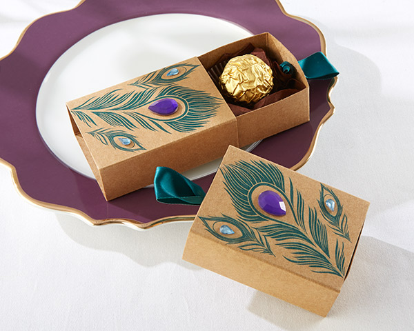 Jeweled Peacock Kraft Favor Boxes: Set of 24