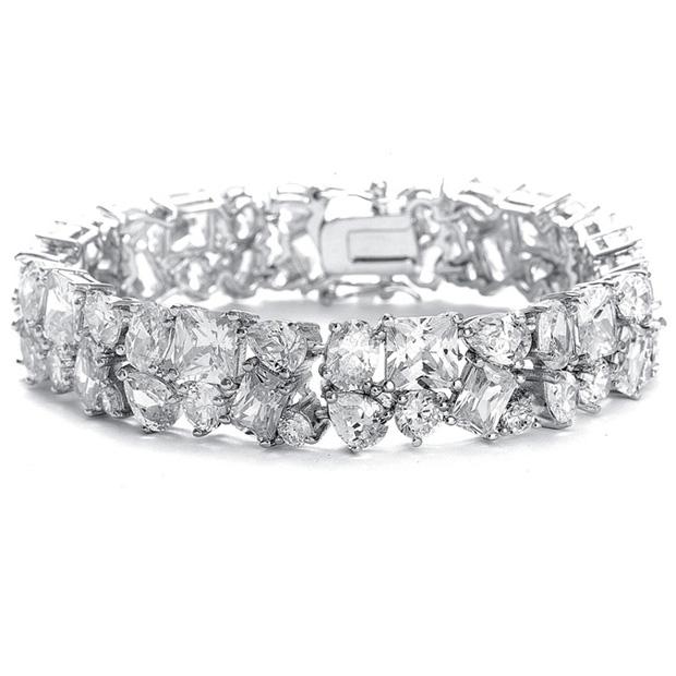Mariell Bedazzling Wedding Bracelet in Multi Shaped CZ