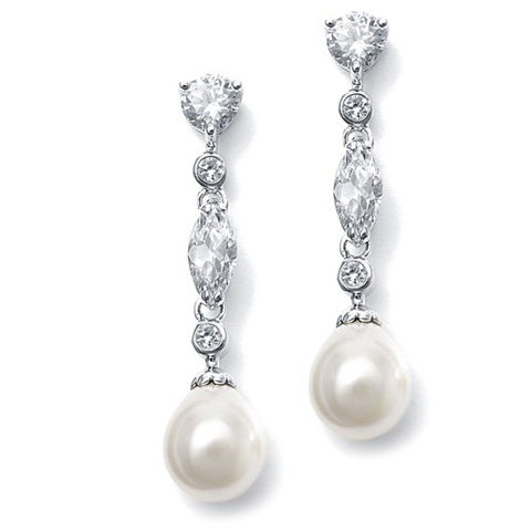 Mariell Linear CZ and Pearl Wedding Earrings