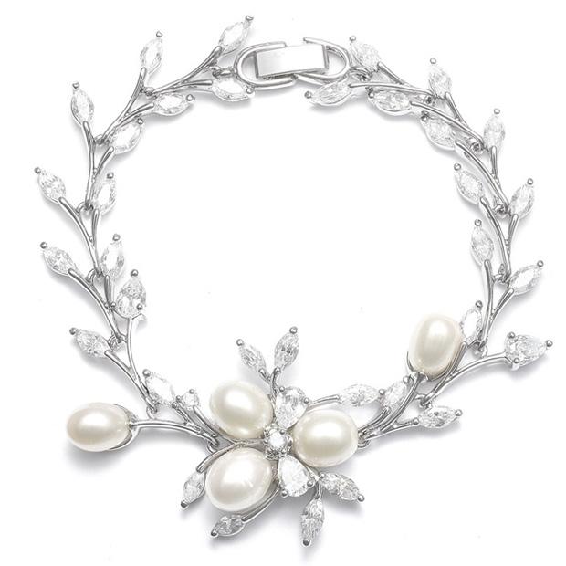 Mariell Freshwater Pearls in CZ Leaves Bracelet