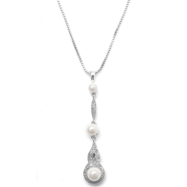 Mariell Braided CZ Pave Dangle Necklace with Pearl