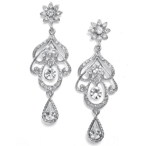 Mariell Abstract Wedding Chandelier Earrings