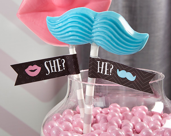 Personalized Party Straw Flags-Kate's My Gender Reveal Collection