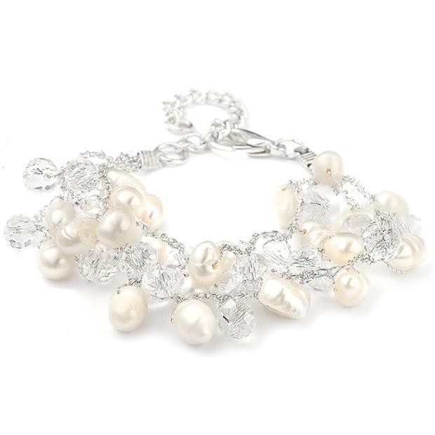 Mariell Genuine Freshwater Pearl Cluster Bridal Bracelet