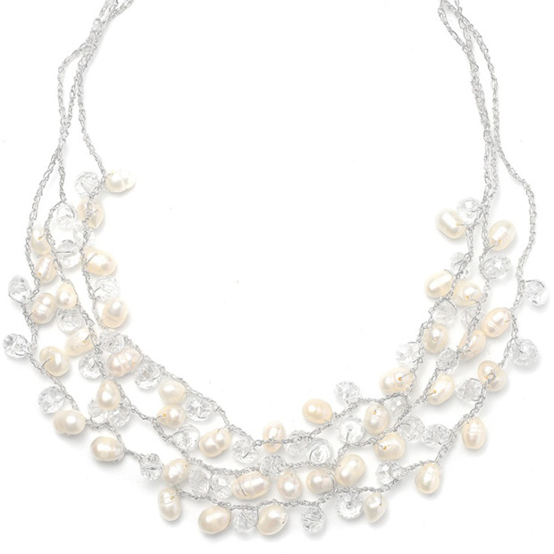 Mariell Genuine Freshwater Pearls 3-Row Bridal Necklace