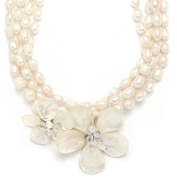 Mariell Exotic Freshwater Pearl Bridal Necklace with flowers